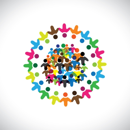 Concept vector graphic- social network of colorful people icons(